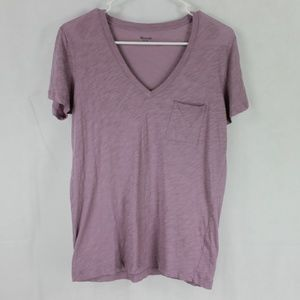 Madewell Women's Small Purple Basic V-Neck T-Shirt